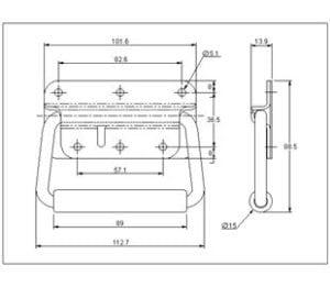 95-637MSBL- Spring Loaded Handle Mild Steel Black drawing