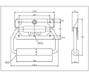 98-651SS- Spring Loaded Handle Stainless Steel (Natural) drawing