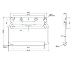 980-6510MSZN- Spring Loaded Handle Mild Steel Zinc Plate Passivate (Silver Blue) drawing