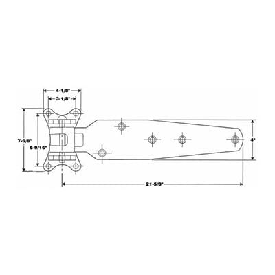 303-HC, Large Cam Lift Hinge with Heavy Strap of 1:4 Steel drawing